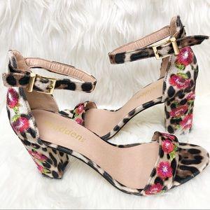 Madden NYC leopard floral embroidered sandal heels